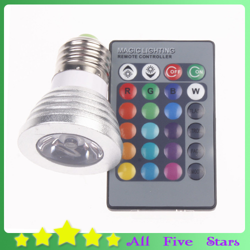 3W E27 LED Bulb RGB Colorful Lamps 16 Color Change Spotlight 100-245V LED Lamp with 24Key IR Remote Controller Free Shipping(China (Mainland))