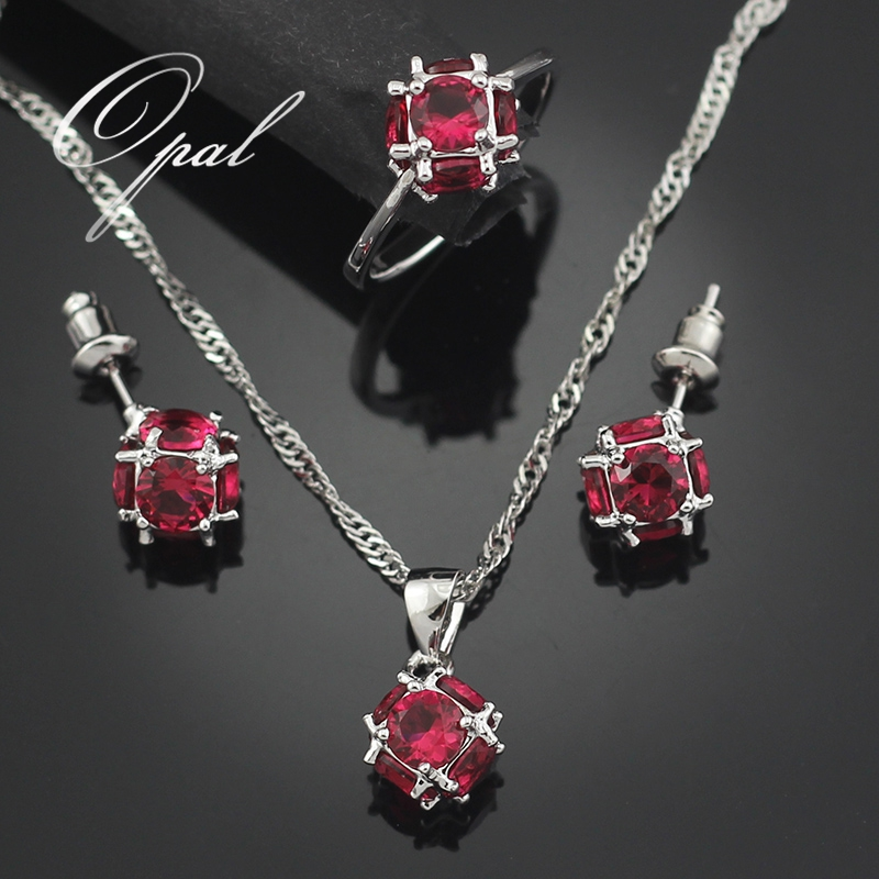 2016 Hot Sale Garnet Jewelry Sets For Women Silver Plated Necklace Pendant Earrings Rings Size 5.5 6.5 7.5 8.5 T001G(China (Mainland))
