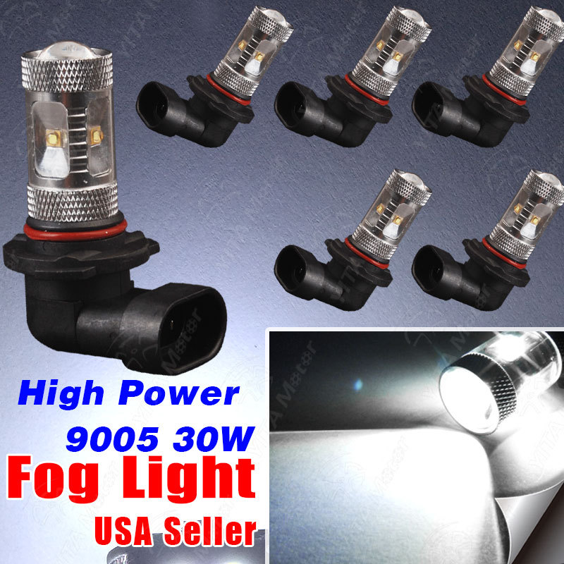 LED Light Bulbs 6Pcs Xenon White 9005 HB3 30W LED Projection Fog/Driving DRL Low Beam Light Bulbs External Lights Free Shipping(China (Mainland))