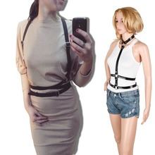 HARNESS women leather sexy belts adjustable punk strap buckies detachable around collar from shoulder to waist for free shipping(China (Mainland))