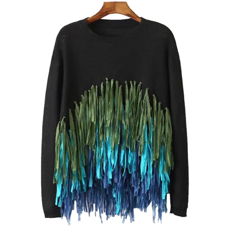 Kesebi Women Fashion Pullovers Sweaters O-Neck Full Length Sleeve Loose Female Colorful Tassel Solid Color Knitter Sweater