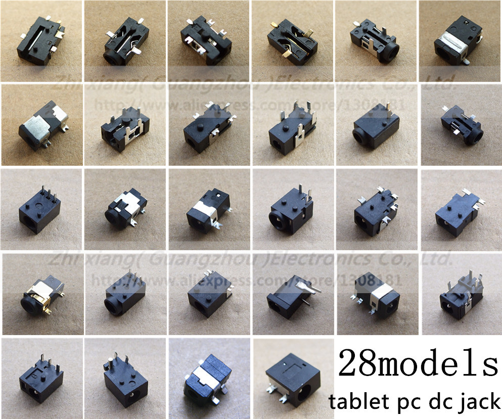 For LaptopTablet PC Pad 24 Models / 240pcs DC Jack Connector, 0.7mm 1.3mm 1.1mm 1.7mm 1.65mm Charging Port Socket Free shipping<br><br>Aliexpress