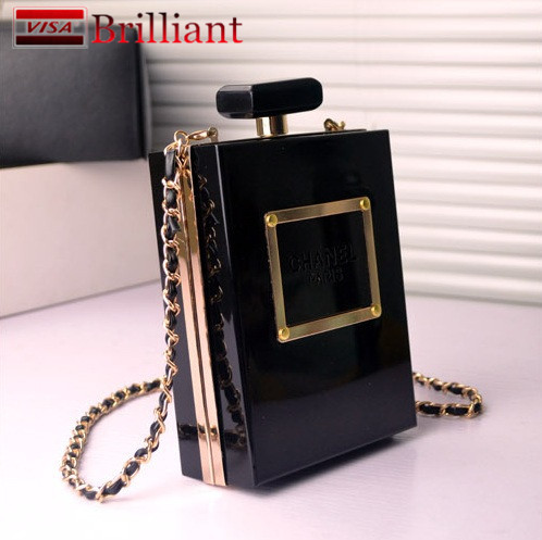 New Famous Brand Designer Acrylic Box Perfume Bottles Shape Chain Clutch evening Handbags Women Clutches Perspex Clear/Black(China (Mainland))