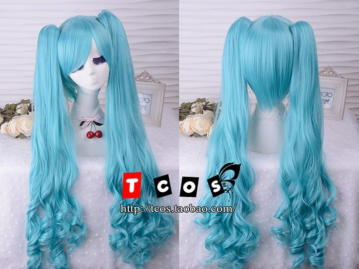 Cosplay VOCALOID Hatsune Miku Twin Tail 90cm/35.4 Lake Blue Long Wavy Hair Costume Wig<br><br>Aliexpress