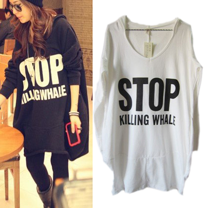 Freeshiping 2015 Autumn Winter Women Stop Letter Loose Hoodie Long Batwing Top,Casual Sweatshirt Black,White #1065(China (Mainland))