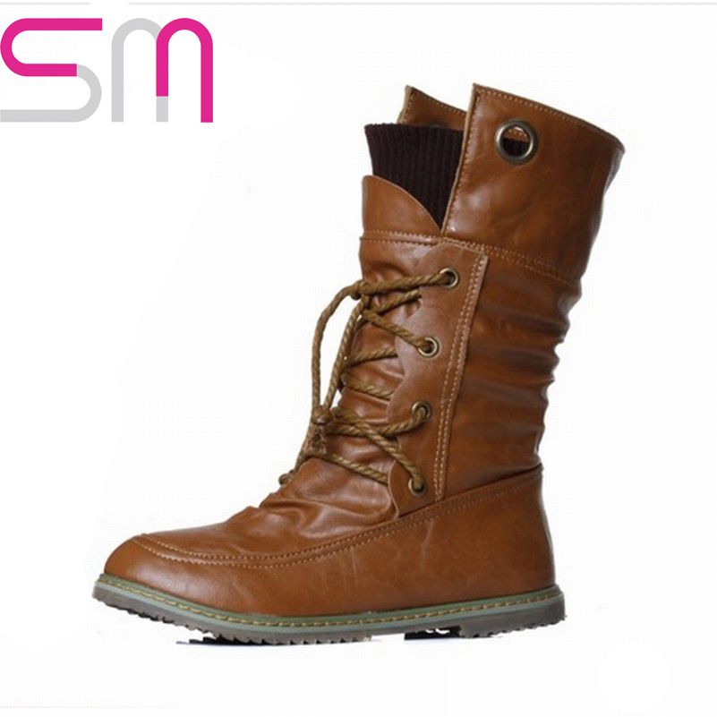 Гаджет  fashion motorcycle martin ankle boots for women,winter snow boots manual made leather  boots shoes plus size 34-43 cross bandage None Обувь