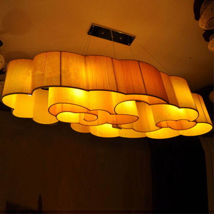 Chinese modern living room chandelier Fabric Ceiling clouds clubhouse restaurant in the hotel lobby custom lighting project(China (Mainland))