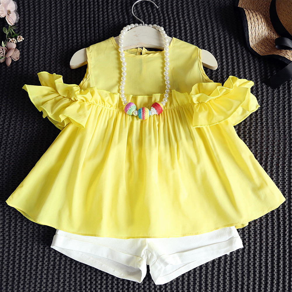 2016 summer Children set girls cute Doll shirt sleeve Strapless top+white shorts 2psc suits solid candy color for 2-7 year girl(China (Mainland))