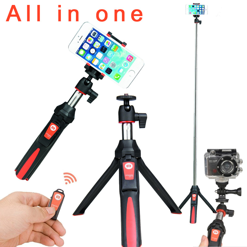 BENRO MK10 4 in 1 Extendable Bluetooth Remote Selfie Stick Monopod Mini Tripod Phone Stand Holder Mount for iPhone Android(China (Mainland))