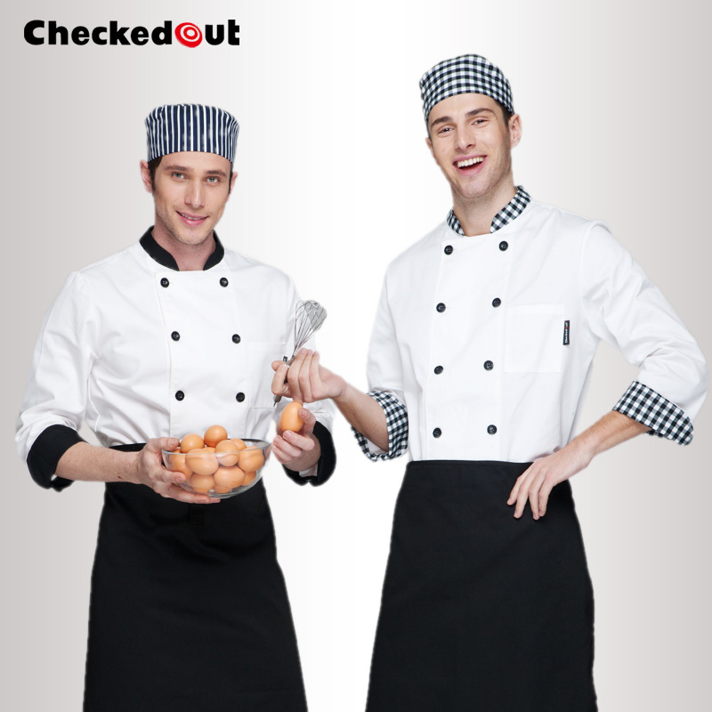 Cook suit long-sleeve double breasted chef jacket checkedout cook clothes Free shipping chef uniform(China (Mainland))