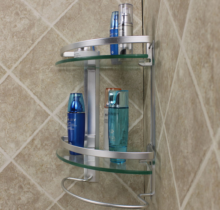 Modern Design Bath Organizer Aluminum 2 Tier Corner Glass Shelf With Towel Bar Bathroom