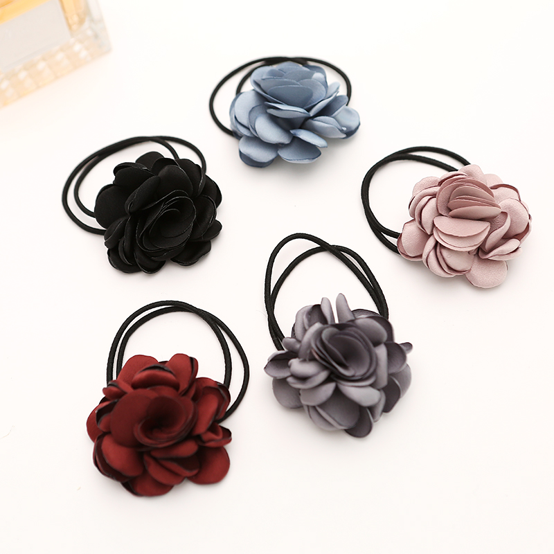 Gorgeous Fabric Flower/floral Girls Ponytail Holders Hair Ties Women's Elastic Headband High Quality Hair Accessories(China (Mainland))