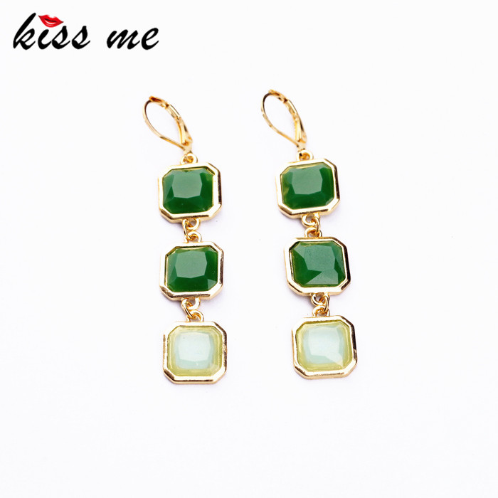 New Styles 2015 Fashion Jewelry Long Earrings Light Green Square Pendant Earrings Christmas Gifts(China (Mainland))