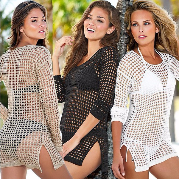2015 women swimwear summer beach cover up sexy outings beach crochet swim suit cover ups output to beach tunic summer style(China (Mainland))