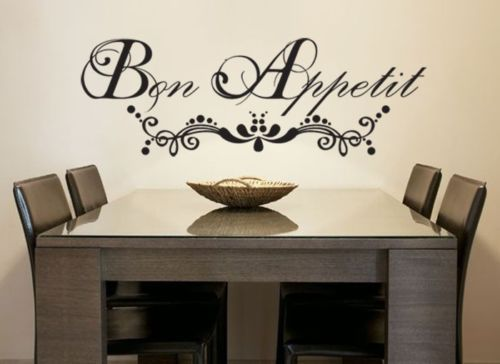 Bon Appetit French vinyl wall decal quote home decoration kitchen wall sticker decor sticker Free Shipping