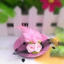 Ribbon Flower Cute 5cm Party Cap Hairpins Festival Hat Hair Clip Hair Accessories Baby Feather Hair Clip for kids girl birthday