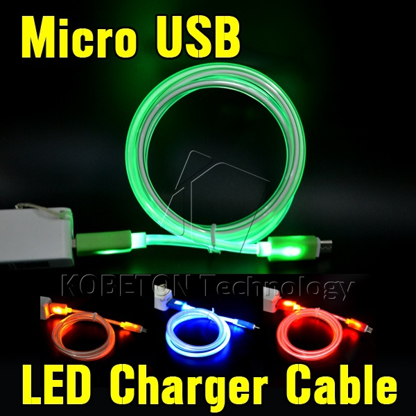 Hot 1M LED Micro USB Cable Data Sync Charging Charger Lighting Light Cable for Samsung Galaxy S6 S5 i9600 S4 Note 3 4 for HTC(China (Mainland))