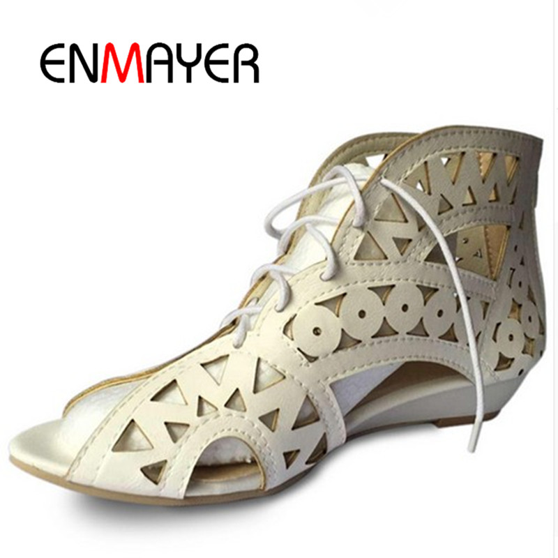 ENMAYER Big Size 34-43 Fashion Cut-outs Lace Up Sandals Open Toe Low Wedges Bohemian Summer Shoes Beach Shoes Woman White Shoes(China (Mainland))