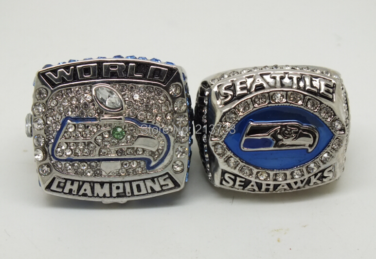 free shipping replica rhodium plated 2005 2014 seahawks championship ring with crystal(China (Mainland))