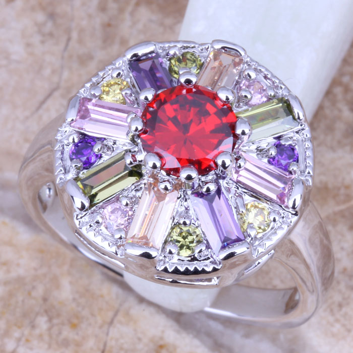 Majestic Multicolor Red Garnet Silver Stamped 925 Women's Jewelry Ring Size 5 / 6 7 8 9 Free Gift Bag R0786  -  jewelry1688 store