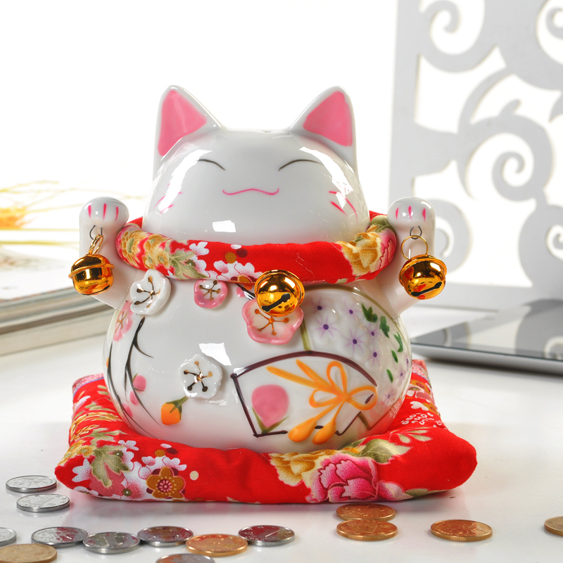 Ceramic Happy Bell Lucky Cat Chinese Flavour Money Box Ceramic Coin Bank Home Decoration