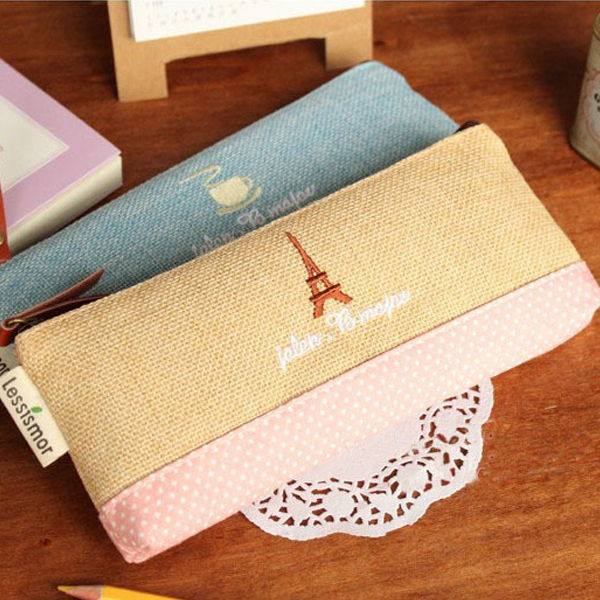 1 PCS Vintage Creative Cotton Cloth Zipped Pencil Case School Pencil Bag For Girl Stationery Estojo Escolar Office Supplies(China (Mainland))