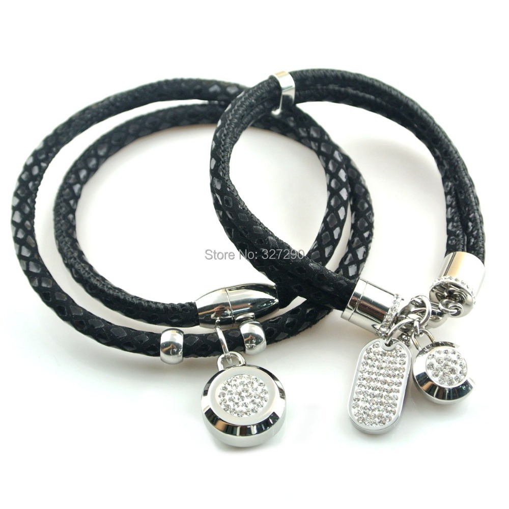 2015 New Fashion Women Leather Bracelet and Necklace Jewelry Set White Zircon and Crystal Paved Magnetic Bracelet