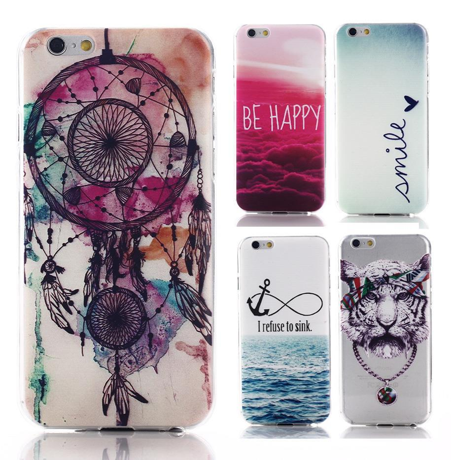 2015 New arrive 15 stylel For Apple iphone 6 case Transparent cell phone cases covers Tower Skull cat Anchor Pattern Housing(China (Mainland))