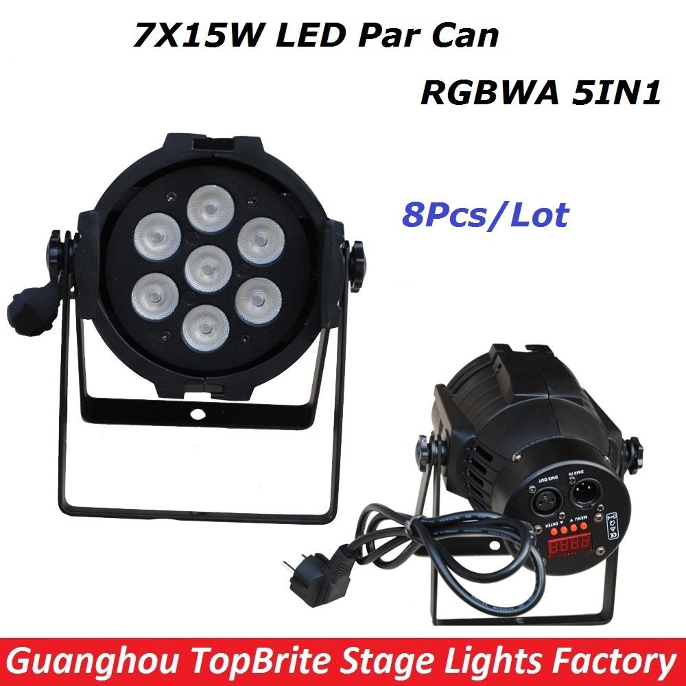 8XLot New LED Stage Lights 7*15W 5IN1 RGBWA Par LED DMX Stage Lighting Effect DMX512 Master-Slave Led Par Can For DJ Disco Party(China (Mainland))
