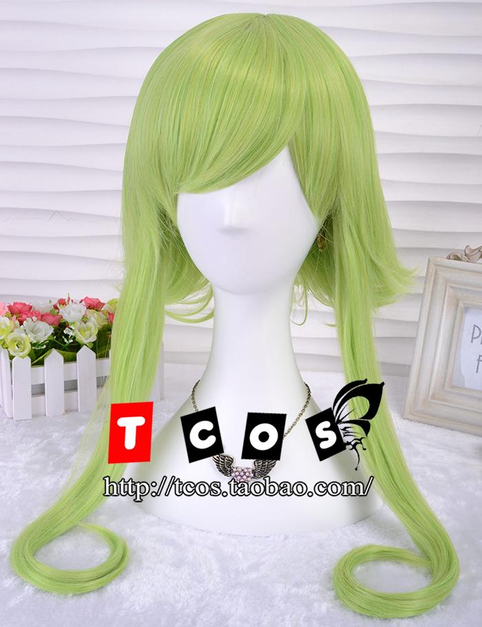 VOCALOID Cosplay Gumi 35cm/13.8 Short Golden Green Curly Hair Costume Wig<br><br>Aliexpress