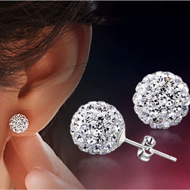 Brand Fashion Earrings Piercing Bijoux Mix Color Micro Disco Ball Earring Studs Clay CZ Crystal Earrings For Women Brincos(China (Mainland))