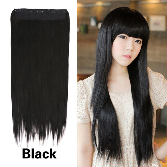 Гаджет  Fashion Girl Lady Hair Extension  60cm Long Straight Clip On Hair Extension High Temperature Fiber Black E#CH  None Волосы и аксессуары