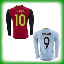Top Quality 2016 Belgium Soccer Jerseys Long Sleeves KOMPANY WITSEL DE BRUYNE FELLAINI LUKAKU E.HAZARD MERTENS Belgium Shirts(China (Mainland))