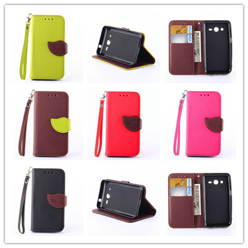 Luxury Magnetic Stand Wallet Pouch flip Leather PU Cell Phone Cases For Samsung Galaxy Core 2 G355H Silicon Covers Shell(China (Mainland))