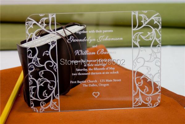 Personalized Engraved Or Printed Acrylic Wedding Invitations Custom Acrylic Invitation 50pcs/lot(China (Mainland))