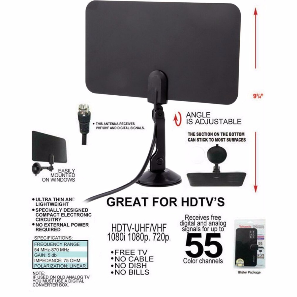 Digital Indoor TV Antenna HD Flat Design High Gain HD TV DTV Box 54MHz-860MHz High quality Promotion Wholesale Store(China (Mainland))