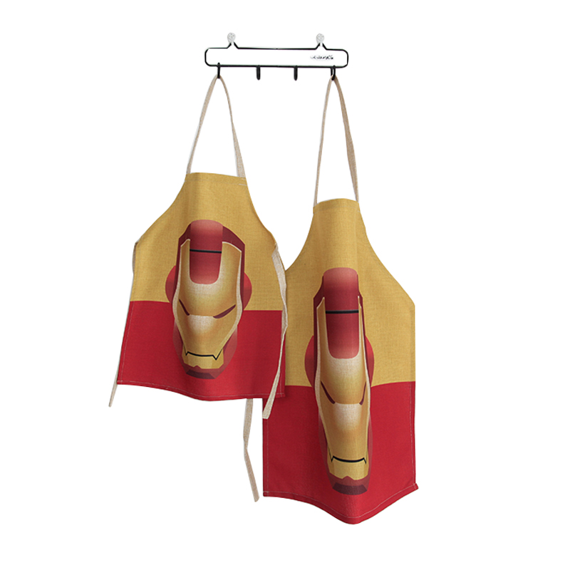 Unique Work Apron for Men Women Child Iron Man Print Personalized Chef Aprons Sleeveless Restaurant Kitchen Bib Family Aprons(China (Mainland))