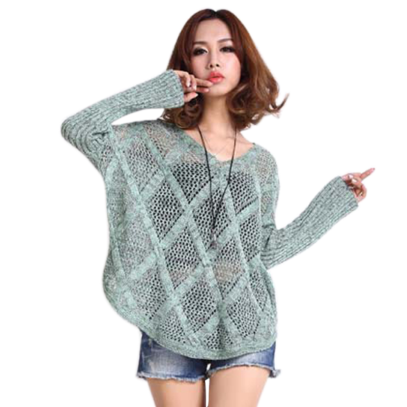 Oversized Sweater Diamond Pattern Hollow Out Knitted Sweater V Neck Loose Pul...