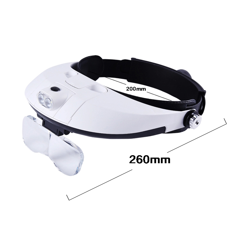 Head-mounted magnifier  helmet LED lamp hands free Read / Maintenance  multiples stackable use substitute for presbyopic glasses<br><br>Aliexpress