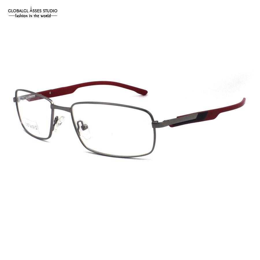 mature rectangle lens metal glasses frame silver frame acetate black on red temple spring hinge optical eyeglasses su1007 c2 1