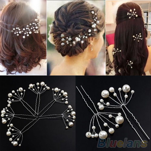 Fashion New Wedding Bridal Bridesmaid Pearls Hair Pins Clips Comb Headband 1OS3(China (Mainland))