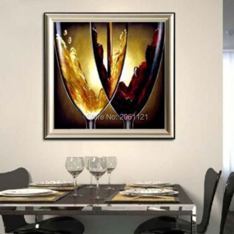 Hand painted modern dining room decorative oil paintings for Modern glass wall art decor