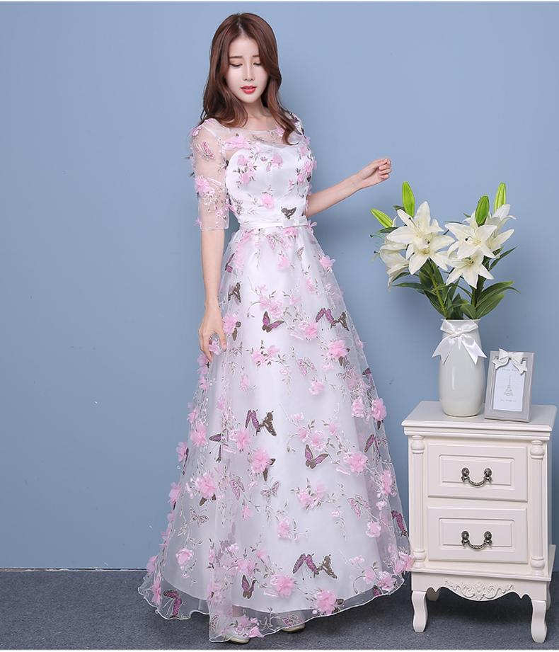 New Arrive Pink Flowers Butterfly Eveving Dresses 2017 V Neck Half Sleeve Sweet Long Evening Dresses