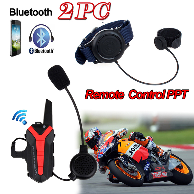 2017 Arrival! 2 pcs X3 Plus Motorcycle Bicycle Waterproof Bluetooth Helmet Headset Intercom 3KM Group walkie talkie PTT Control(China (Mainland))
