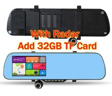 """5""""  Android 4.4.2 Quad core Car DVR GPS Navigation Wifi Parking Rearview Mirror Radar Detector recorder Dual cameras Dash Cam(China (Mainland))"""