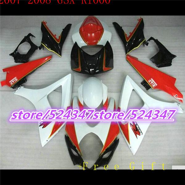 Hot sales GSX - R1000 K7 07, 08 GSX R1000 fairing kit K7 07-08 orange black white and sport bike cheap motorcycle at 3 o 'clock(China (Mainland))