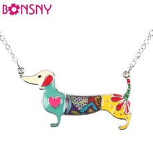 Bonsny Statement Metal Alloy Enamel Dachshund Dog Choker Necklace Chain Collar Pendant 2016 Fashion New Jewelry For Women(China (Mainland))