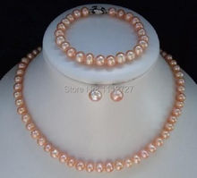 Beautiful! 8-9mm Pink Akoya Pearl Necklace Bracelet Earring 1 Sets Jewelry Sets Beads Natural Stone Wholesale Price(China (Mainland))