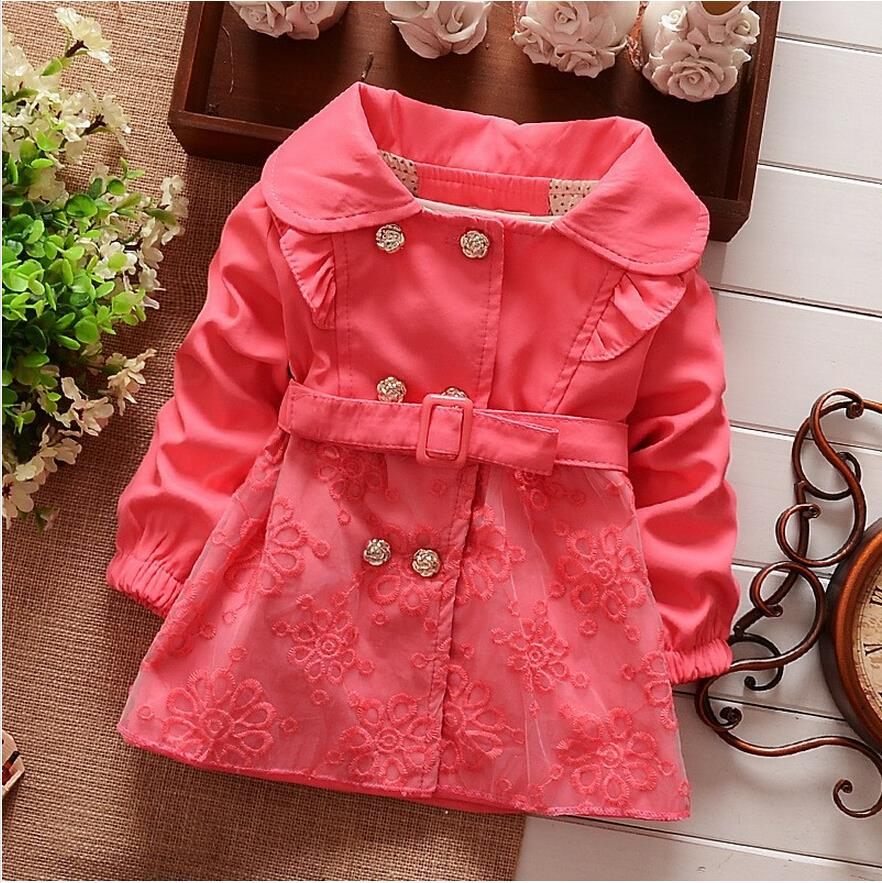 Girls coat, children's outerwear hooded 100% cotton lace Belt kids clothing,Spring Autumn Jacket for children(China (Mainland))