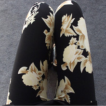 2016 New Floral patterned Printed Leggings Fashion Sexy Women Lady Slim Cotton Pants Black white Vintage graffiti trousers(China (Mainland))